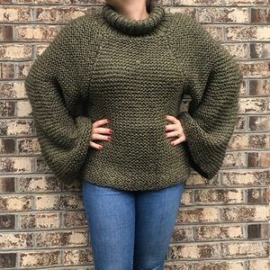 Vintage Hand Knit Chunky Flare Bell Sleeve Sweater